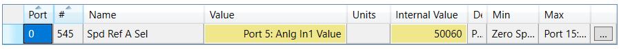 Asignación de entrada analógica 1 de un módulo de expansión de ES instalado en puerto 5 como referencia de velocidad