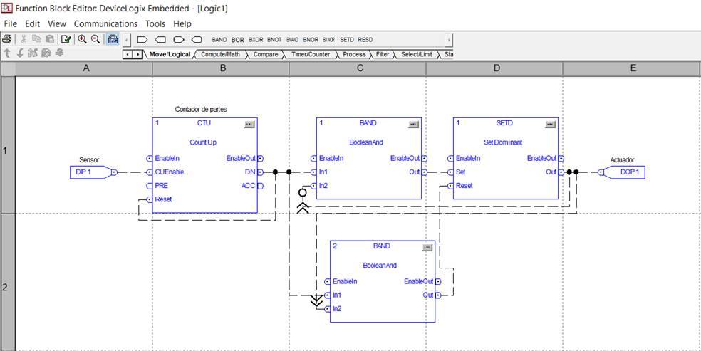 Editor de bloques DeviceLogix, PowerFlex 753